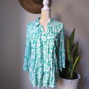 Anthropologie Maeve  Floral Button Up Blouse